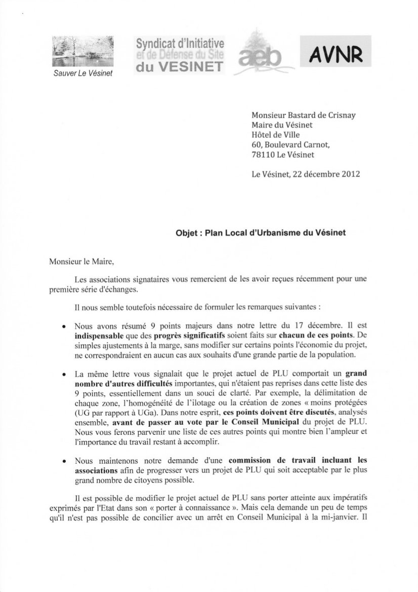 plu   2 u00e8me lettre commune des associations adress u00e9e au maire le 22  12  2012 demandant un report