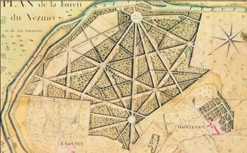 ©SIDS Le Vésinet - Plan à la plume et encre de chine, aquarelle ; 54,2 x 64 cm Cote : BNF Richelieu Estampes et photographie Rés. Ve-26g-Fol. Destailleur Province, t. 2 , n. 494.